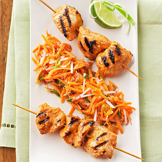 Tandoori Turkey Kebabs with Carrot Radish Salad