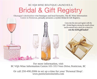 BC VQA Wine Boutique Launches a Bridal & Gift Registry