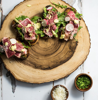 Open-Faced Steak Sandwiches with Parmesan Avocado Cream