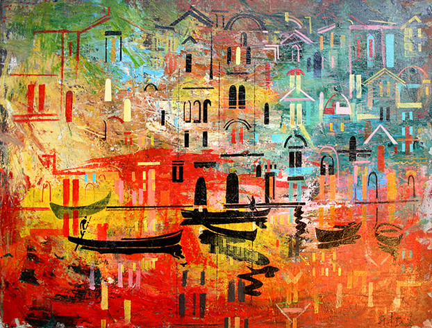 Abstract Venice Study. Boats And Water