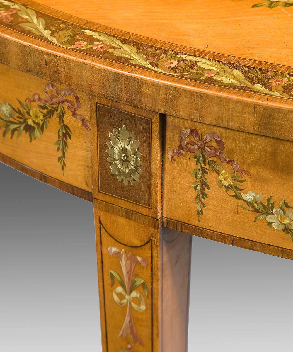 Image: A George III Sheraton period satinwood veneered console table Circa 1780. Photo Credit: Reindeer Antiques