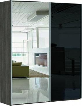 2-х дверный зеркало/стекло черное
