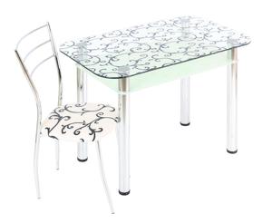 Обеденный стол  3.4 ДП28 прозрачный/белый
