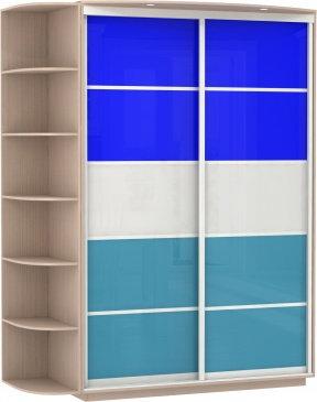 2-х дверный, корпус Дуб молочный, двери стекло цветноестекло, фотовставки