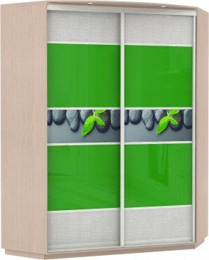 Угловой, корпус Дуб молочное, двери экокожа, стекло цветное, фотовставки