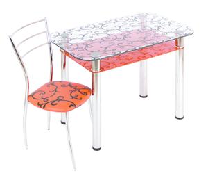 Обеденный стол  3.4 ДП28 прозрачный/оранжевый