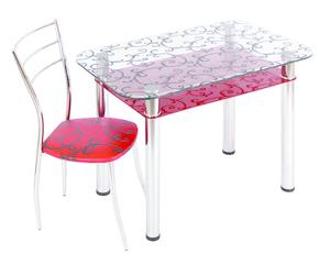 Обеденный стол  3.4 ДП28 прозрачный/красный