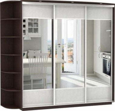 3-х дверный, корпус Дуб молочный, двери зеркало с аппликацией, стекло