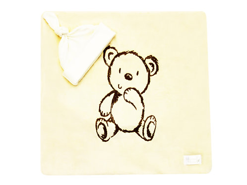 Bear Embroidered Blanket - Ivory