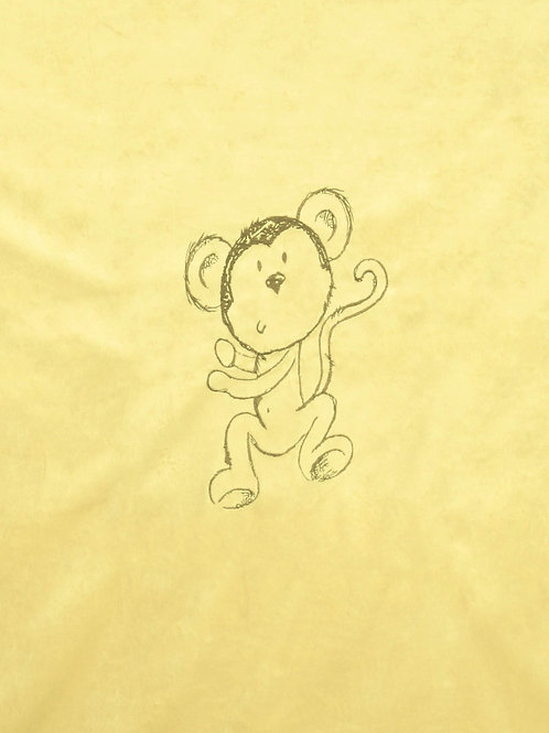 Monkey Embroidered Blanket in Yellow