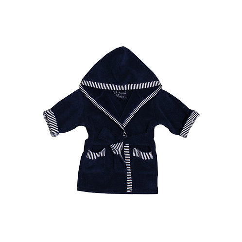 Bath, Beach or Pool Robe for Baby in Navy with Pin Stripe Trim