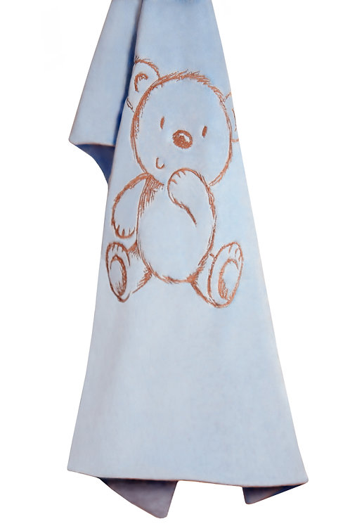 Bear Embroidered Blanket in Baby Blue