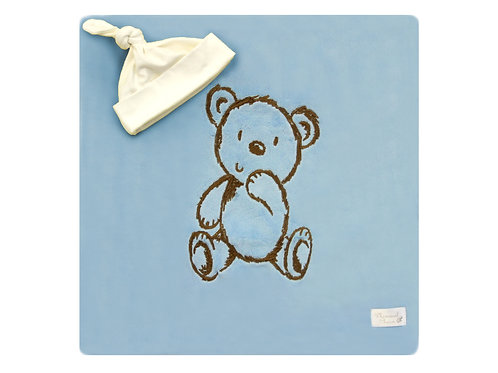 Bear Embroidered Blanket - Baby Blue