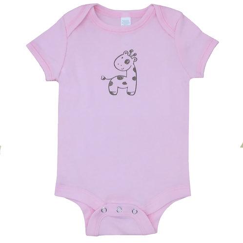 Giraffe_Short Sleeve Onesie_Pink