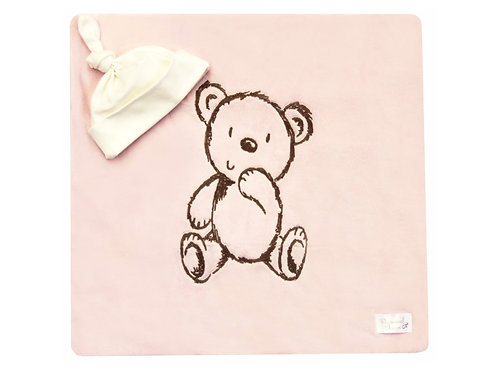 Bear Embroidered Blanket - Baby Pink