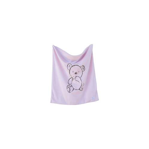 Bear Embroidered Blanket in Baby Pink