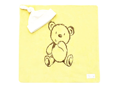 Bear Embroidered Blanket - Yellow