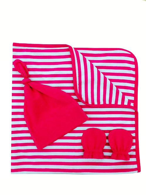 Stripped Cotton 3pc Gift Set - Pink Passion