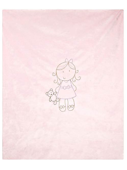Lil Girl Embroidered Blanket in Baby Pink