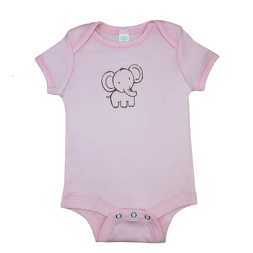 Elephant_Short Sleeve Onesie_Pink