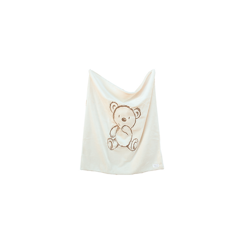 Bear Embroidered Blanket in Ivory