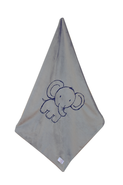 Elephant Embroidered Blanket in Grey