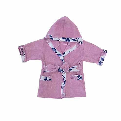 Bath, Beach or Pool Robe for Baby in Lilac with Floral Trim
