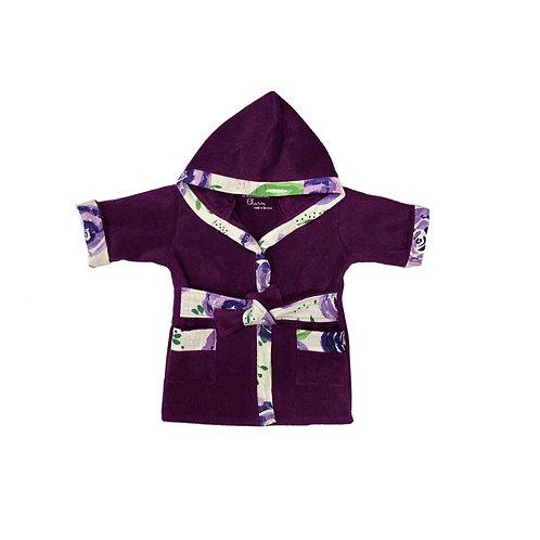 Bath, Beach or Pool Robe for Baby in Boysenberry with Flower Trim