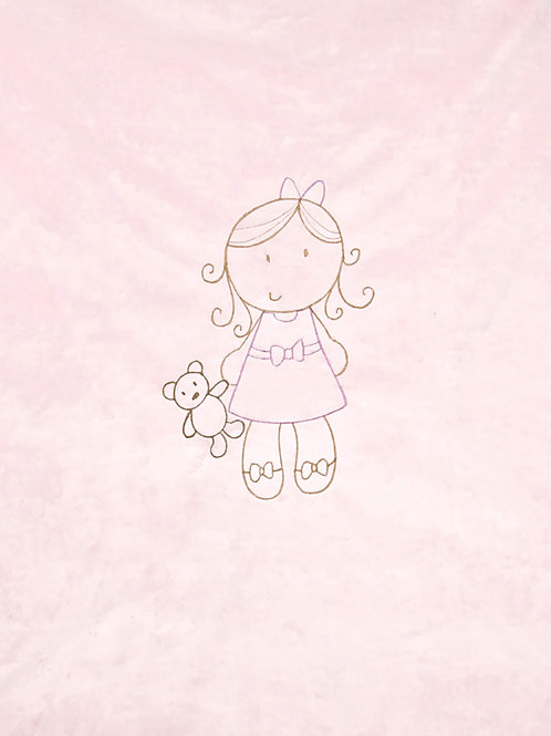Doll Embroidered Blanket in Baby Pink