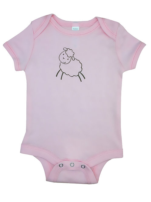 Lamb_Short Sleeve Onesie_Pink