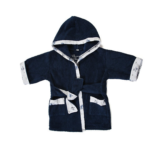 Bath, Beach or Pool Robe for Baby in Navy with Airplane Trim