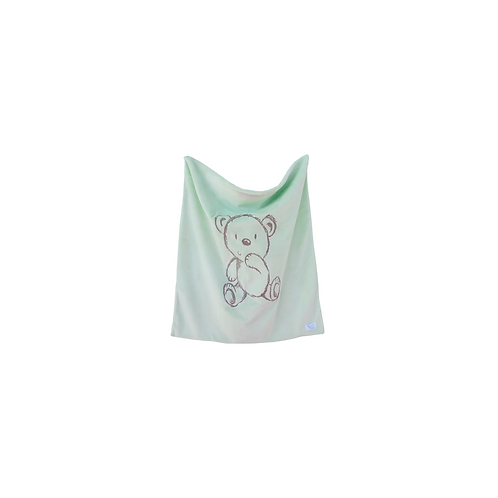 Bear Embroidered Blanket in Mint
