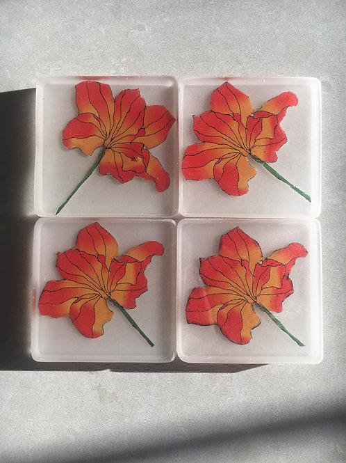 Orange Lily Coasters