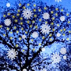 Blue Snow Flakes