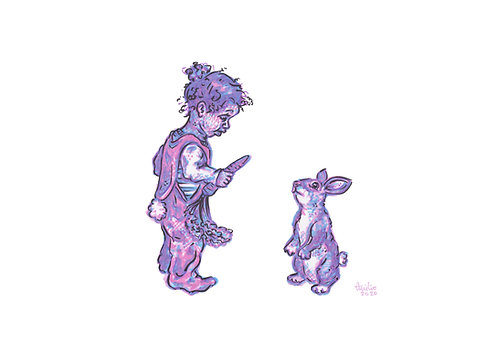 Christmas Card - Child + Rabbit