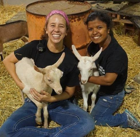 Hanging with the goats while working in the Discovery Barnyard at WI State Fair.