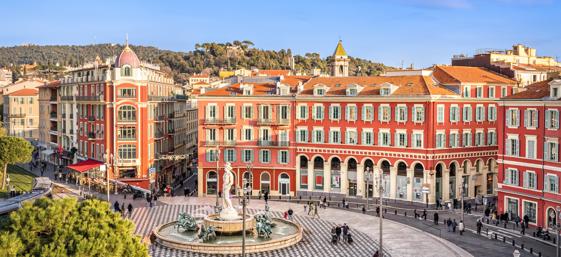 Aerial view of Place Massena square with