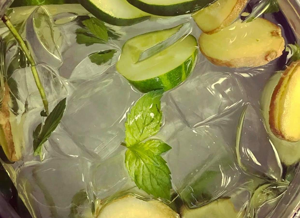 Fresh Infused Water   Cucumber Ginger & Basil