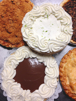 Variety of pies, from crust to cream