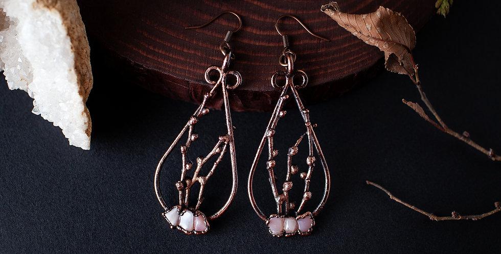 Pink Opal Twig Earrings