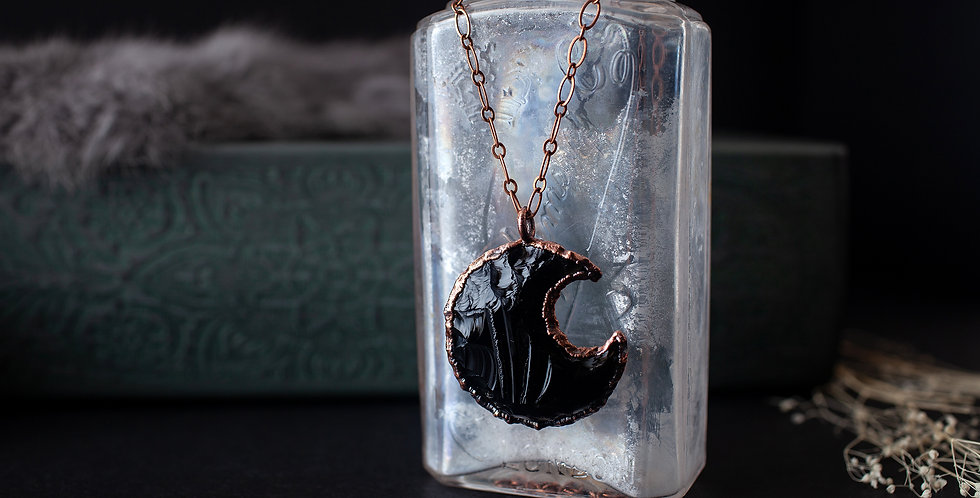 Black Obsidian Moon Pendant