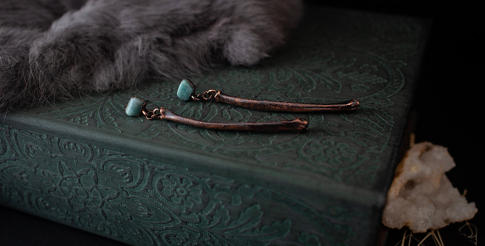 Amazonite Bone Earrings