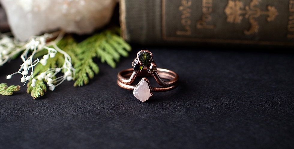 Rose Quartz Ring Set - Size 8 1/2