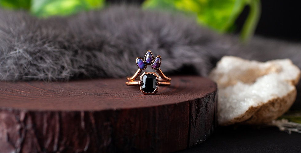 Obsidian Ring Set - Size 6