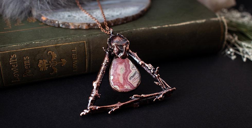 Rhodochrosite Beetle Necklace