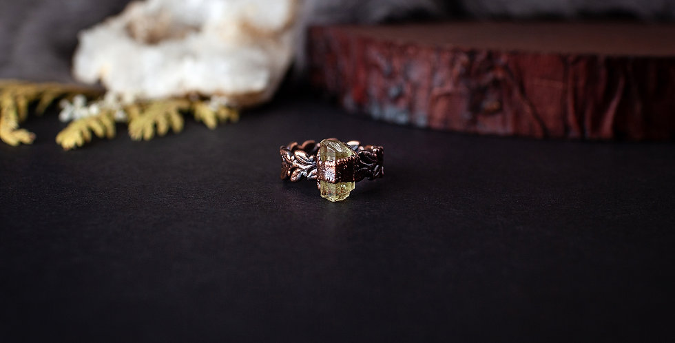 Mystery Stone Leaf Ring - Size 6 1/4