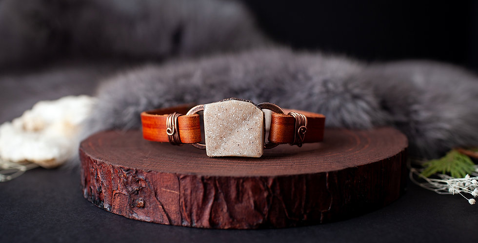 Druzy Crystal Leather Bracelet