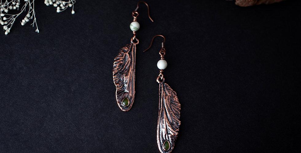 Jade Dragonfly Wing Earrings