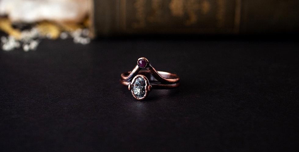 Aquamarine and Ruby Ring - Size 9