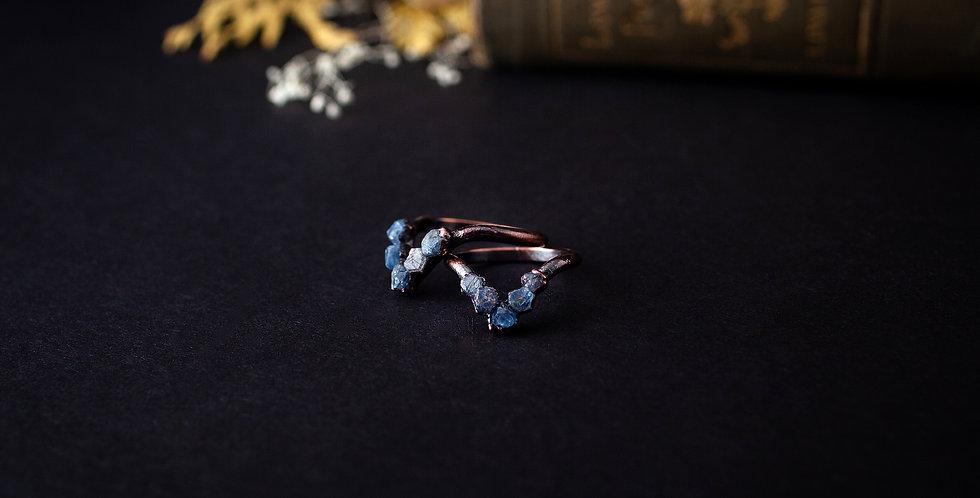 Raw Sapphire Chevron Ring